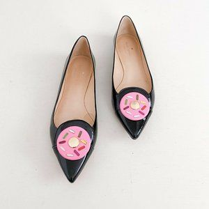 Kate Spade New York x Darcel Size 8.5 Gooey Donut Flats Patent Black Pointed Toe